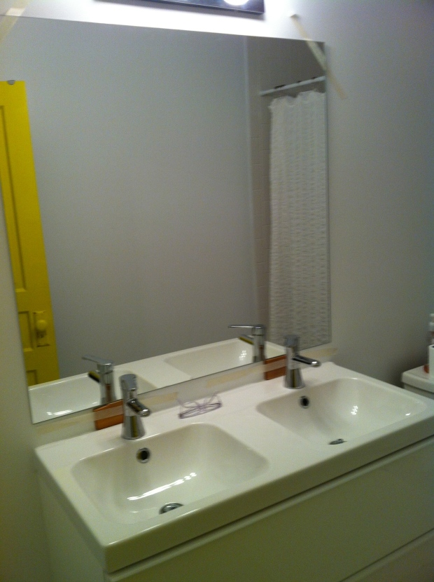 Just add mirror ($50 from Ikea, same width as sink!) and TA DA!