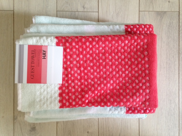 Towels for HAY by Scholten & Baijings in Cherokee Red (and mint green, with grey and white and a stripe of green!)