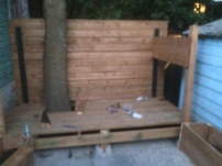 More progress with the back fence done and side fence halfway (apologies for the fuzziness: this looked way less fuzzy on our phones)