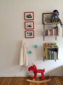 Moose, Land of Nod pegs, the beginnings of a book collection!