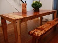 Pine/Cherry table and bench crafted from salvaged tobacco factory beams and old farm cabinets