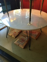 Marble mid century style coffee table $350