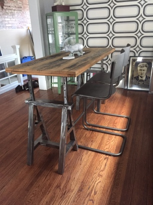 Trestle table at bar height