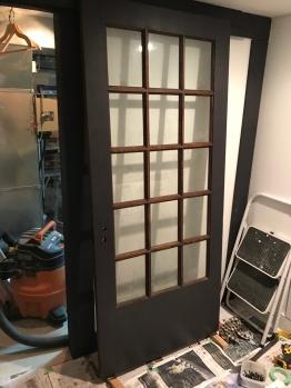 Reusing our original 1920's French Windowed Door... as a DOOR!